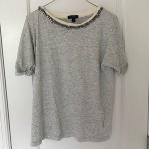 J. crew gray shirt with beaded neckline small